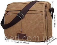 Сумка мужская Vintage 14445 текстильная Коричневая, Коричневый, фото 3