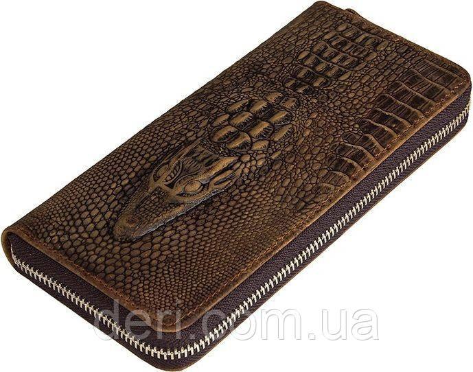 Мужской клатч Vintage 14462 кожа под крокодила Коричневый, Коричневый