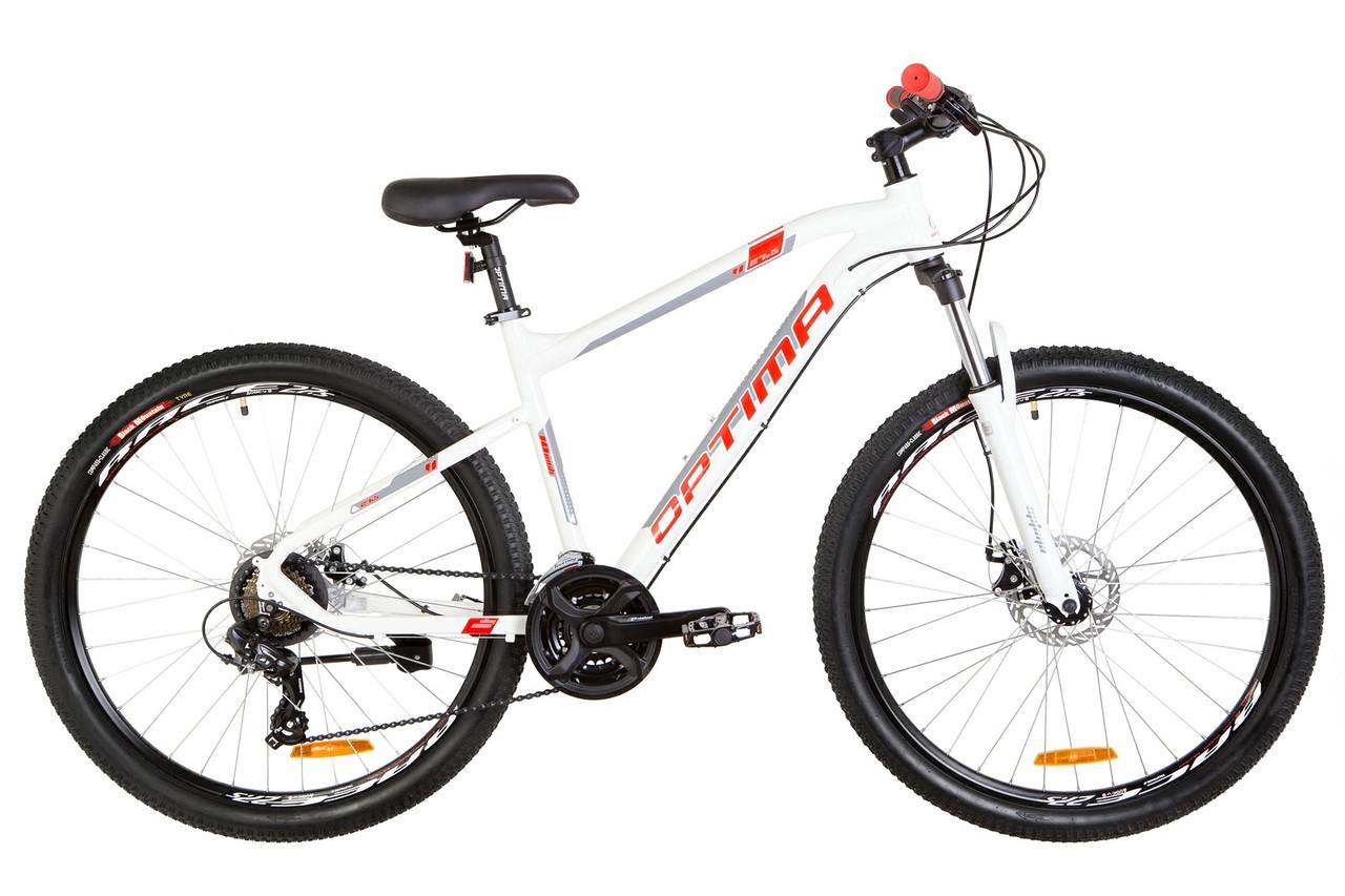 """Велосипед горный 27.5"""" Optimabikes F-1 HDD 2019 (бело-красный)"""