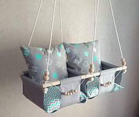 Гойдалка для двох дітей підвісна і 4 подушечки, качеля подвесная для двоих