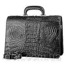 Портфель CROCODILE LEATHER 18048 из натуральной кожи крокодила Черный, Черный, фото 2