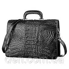 Портфель CROCODILE LEATHER 18048 из натуральной кожи крокодила Черный, Черный, фото 3