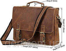 Сумка Vintage 14541 из натуральной кожи Коричневая, Коричневый, фото 3