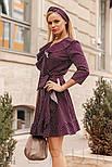 Легкое платье в горошек с воланами сливового цвета, фото 2