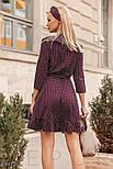 Легкое платье в горошек с воланами сливового цвета, фото 3