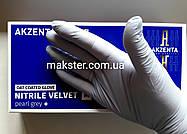 Нитриловые перчатки с вытяжкой овса, Akzenta жемчужно серые, фото 2