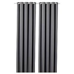 IKEA HILLEBORG, 304.250.35 Гардины,Шторы блокирующие свет, 1 пара, серый, 145x300 см