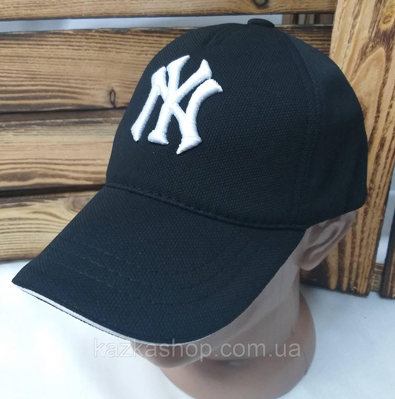 Мужская кепка New York черного цвета, материал лакоста, сезон весна-лето, большая вышивка, на регуляторе