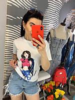 Модные джинсовые шорты по бокам шнуровки.  Размер:С-88/90 М -90/92 Л-92/94. Цвет: голубой (744)