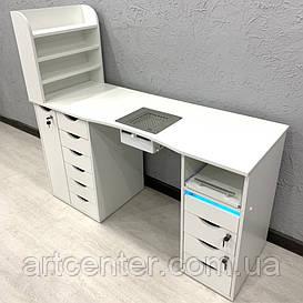 Профессиональный стол для маникюра с ящиком карго, 10 выдвижными ящиками и полкой для лаков