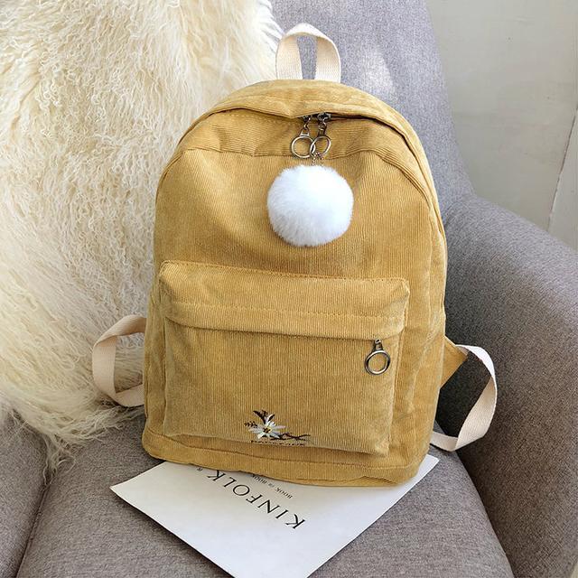 Міський вельветовий рюкзак жовтий