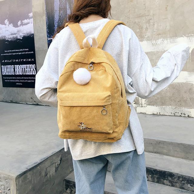 Жіночий рюкзак з вельвету жовтий
