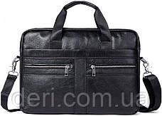 Сумка мужская Vintage 14625 кожаная Черная, Черный, фото 3