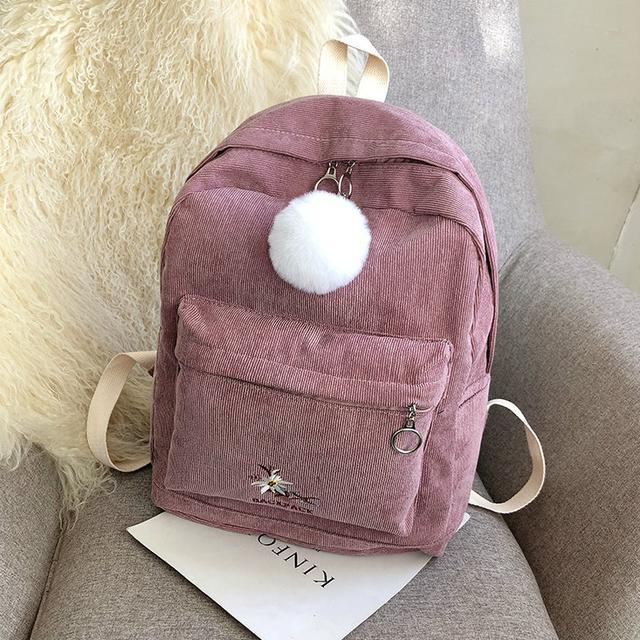 Вельветовий міський рюкзак рожевий