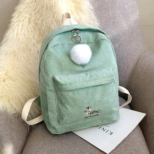Рюкзак вельветовий м'ятний