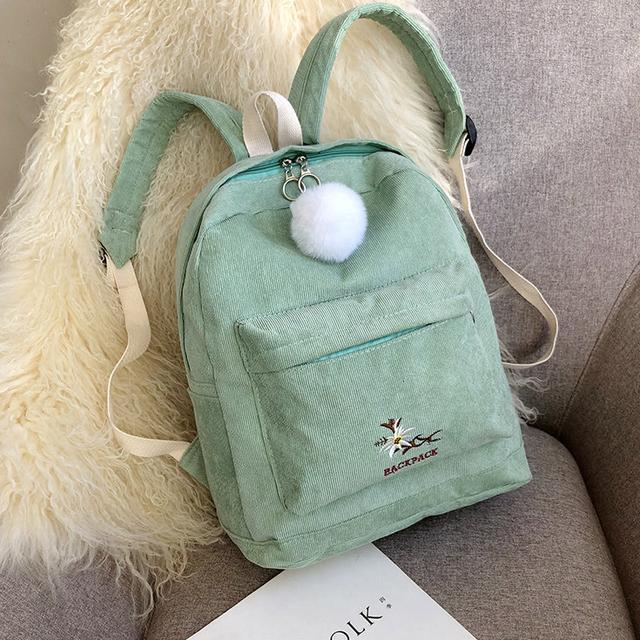 М'ятний міський рюкзак з вельвету
