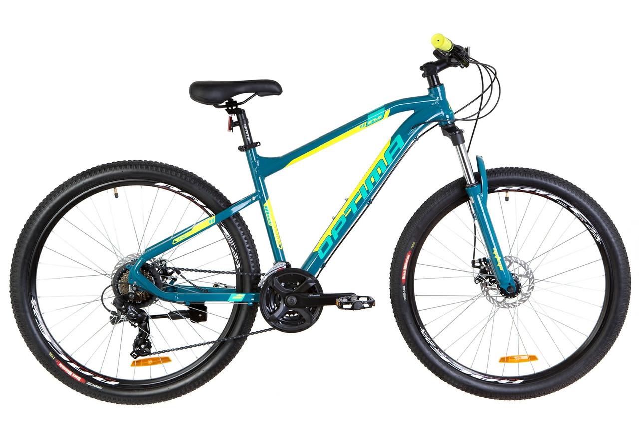 """Велосипед горный 27.5"""" Optimabikes F-1 HDD 2019 (бирюзово-желтый)"""