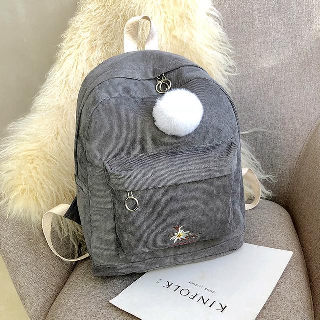 Міський вельветовий рюкзак сірий