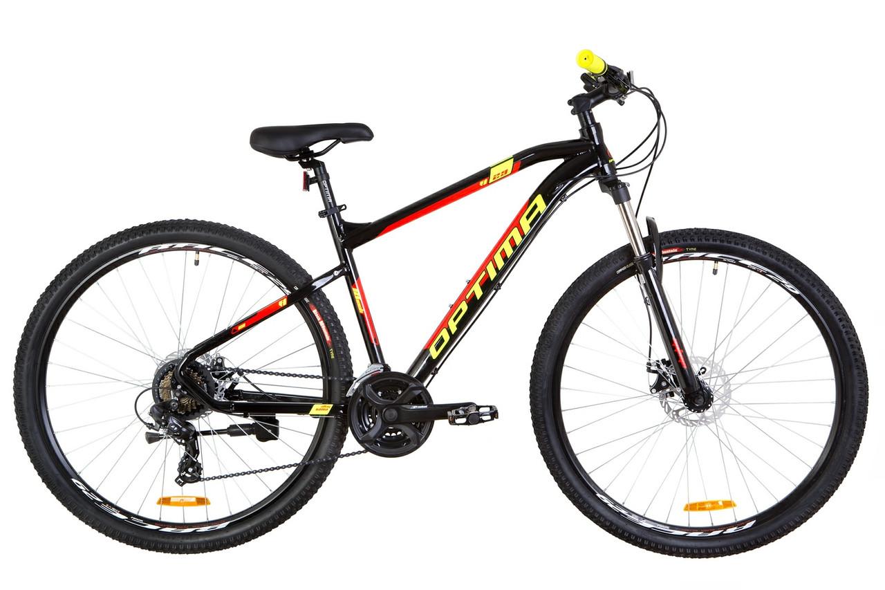 """Велосипед горный 27.5"""" Optimabikes F-1 HDD 2019 (черно-красный с желтым)"""