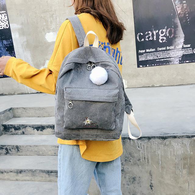 Вельветовий міський рюкзак сірий