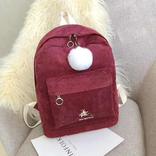 Міський вельветовий рюкзак червоний