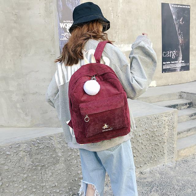 Червоний вельветовий рюкзак