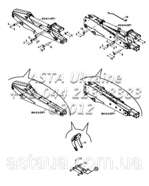Крепления стрелы на Hidromek 102B