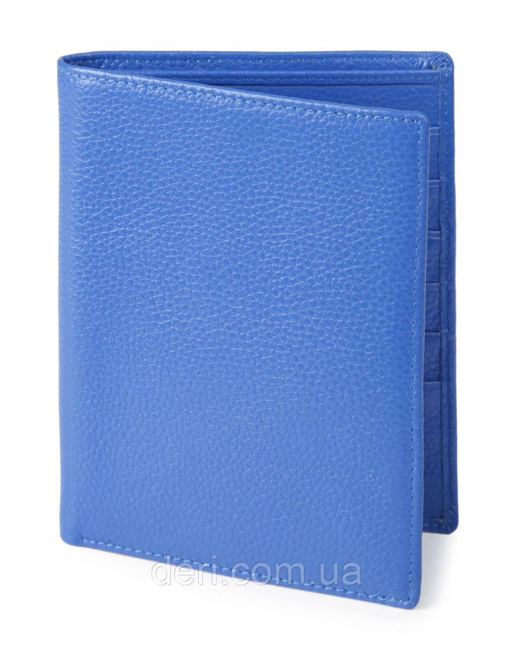Кошелек SHVIGEL 00922 кожаный с отделениями для паспортов Голубый, Синий