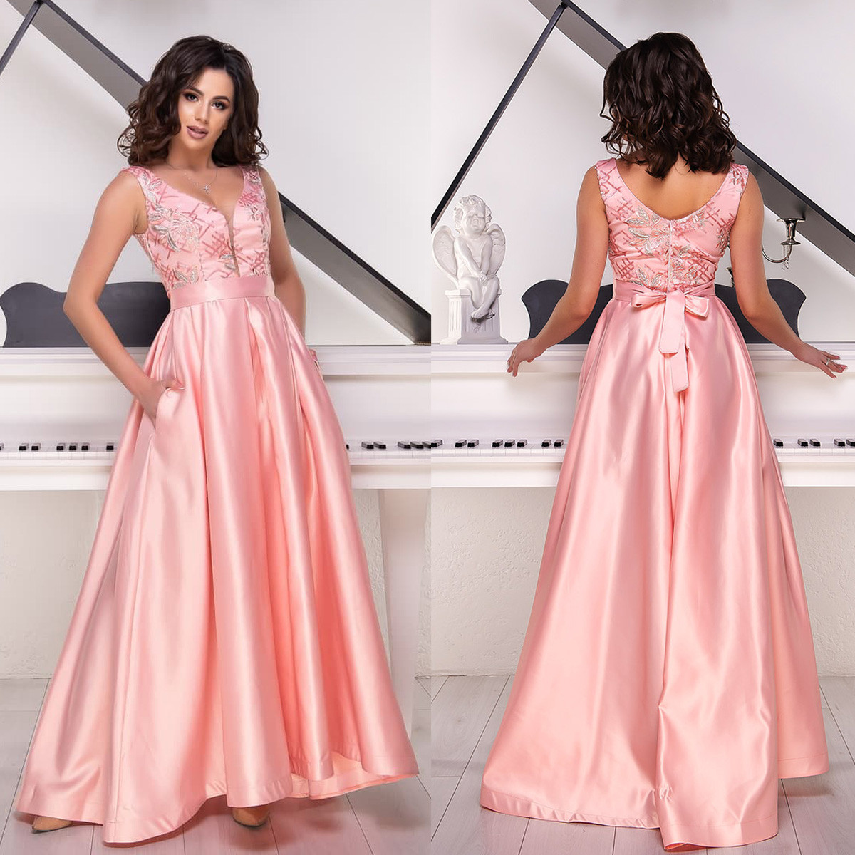 4a04629f71b Атласное длинное платье вечернее