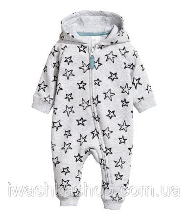 Утепленный трикотажный комбинезон с капюшоном на малышей 2 - 4 месяцев, р. 62, H&M