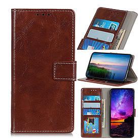 Чехол книжка для LG V50 ThinQ 5G V500N боковой с отсеком для визиток, Гладкая кожа, коричневый