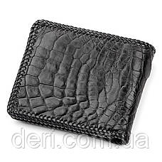 Портмоне CROCODILE LEATHER 18004 из натуральной кожи крокодила Черное, Черный, фото 2