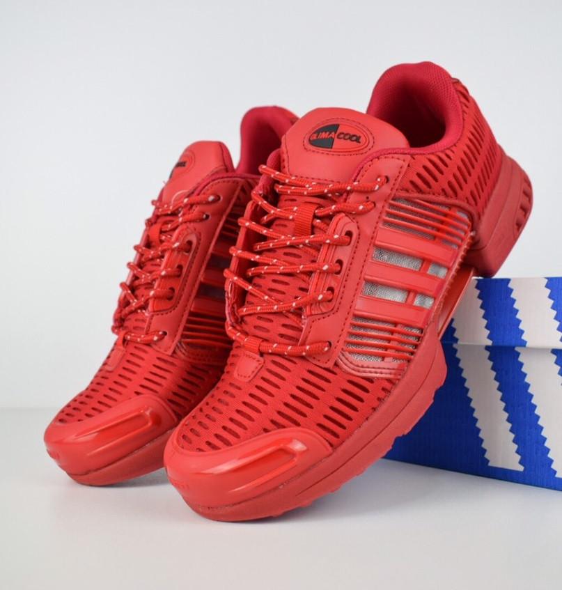 Мужские кроссовки Adidas ClimaCool красные. Живое фото. Реплика