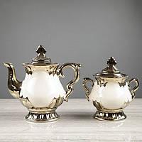 "Чайный сервиз ""Валтасар"" белый, 8 предметов, чайник 0,8 л, сахарница 0,5 л, чашка 0,25 л"