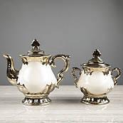 """Чайний сервіз """"Валтасар"""" білий, 8 предметів, чайник 0,8 л, цукорниця 0,5 л, чашка 0,25 л"""