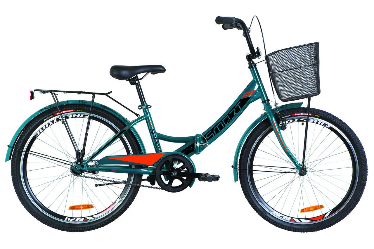 """Велосипед складной 24"""" Formula SMART с корзиной 2019 (синий с оранжевым (м))"""