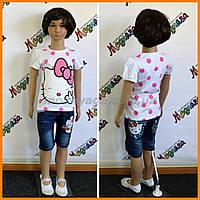Детский комплект: шорты + футболка для девочек - Hello Kitty