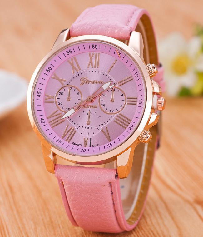 Часы Женева Geneva Римские цифры розовые