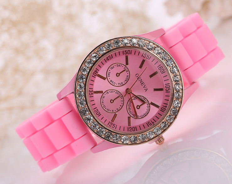 Часы женские GENEVA ЖЕНЕВА со стразами Розовые