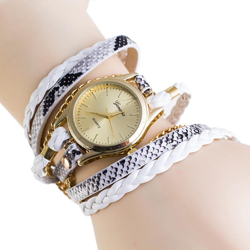 Часы на длинном ремешке наматываются на руку Белые 067-01
