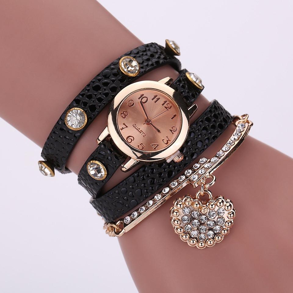 Часы-браслет длинные, наматывающиеся на руку Черные 089-6
