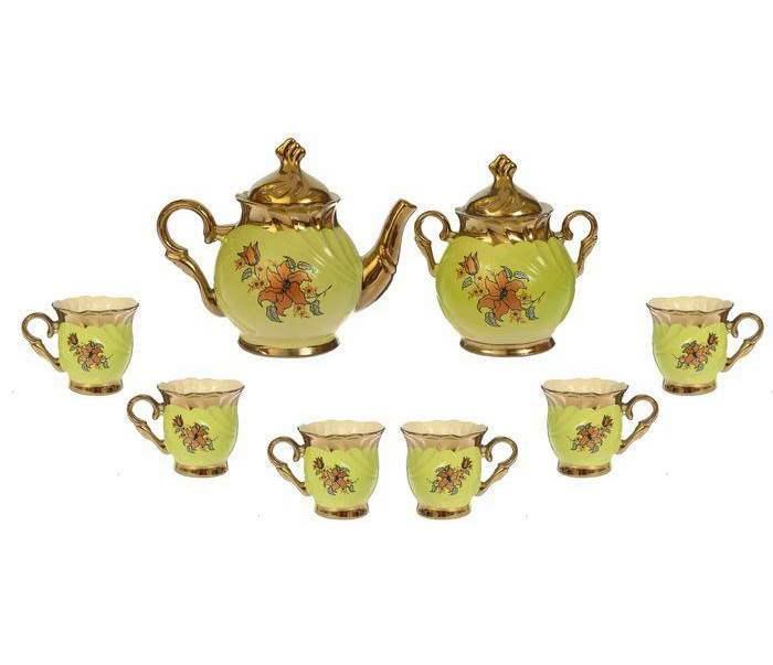 """Чайный набор """"Орфей"""" салатовый, 8 предметов, 0,5 л чайник, 0,5 л сахарница, 0,2 л чашка"""