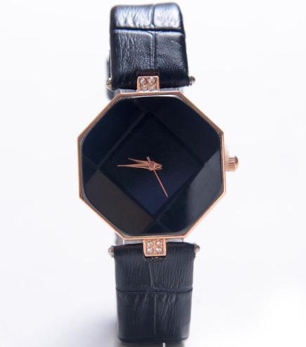 Годинник з геометричним циферблатом чорні 072-3