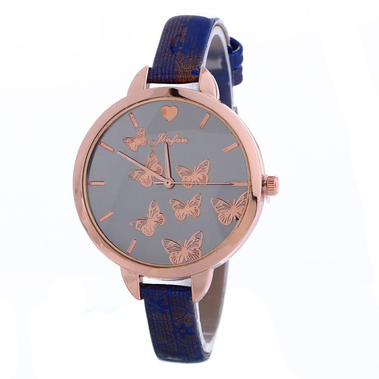 Часы Женева Geneva тонкий ремешок бабочки Синие 086-3