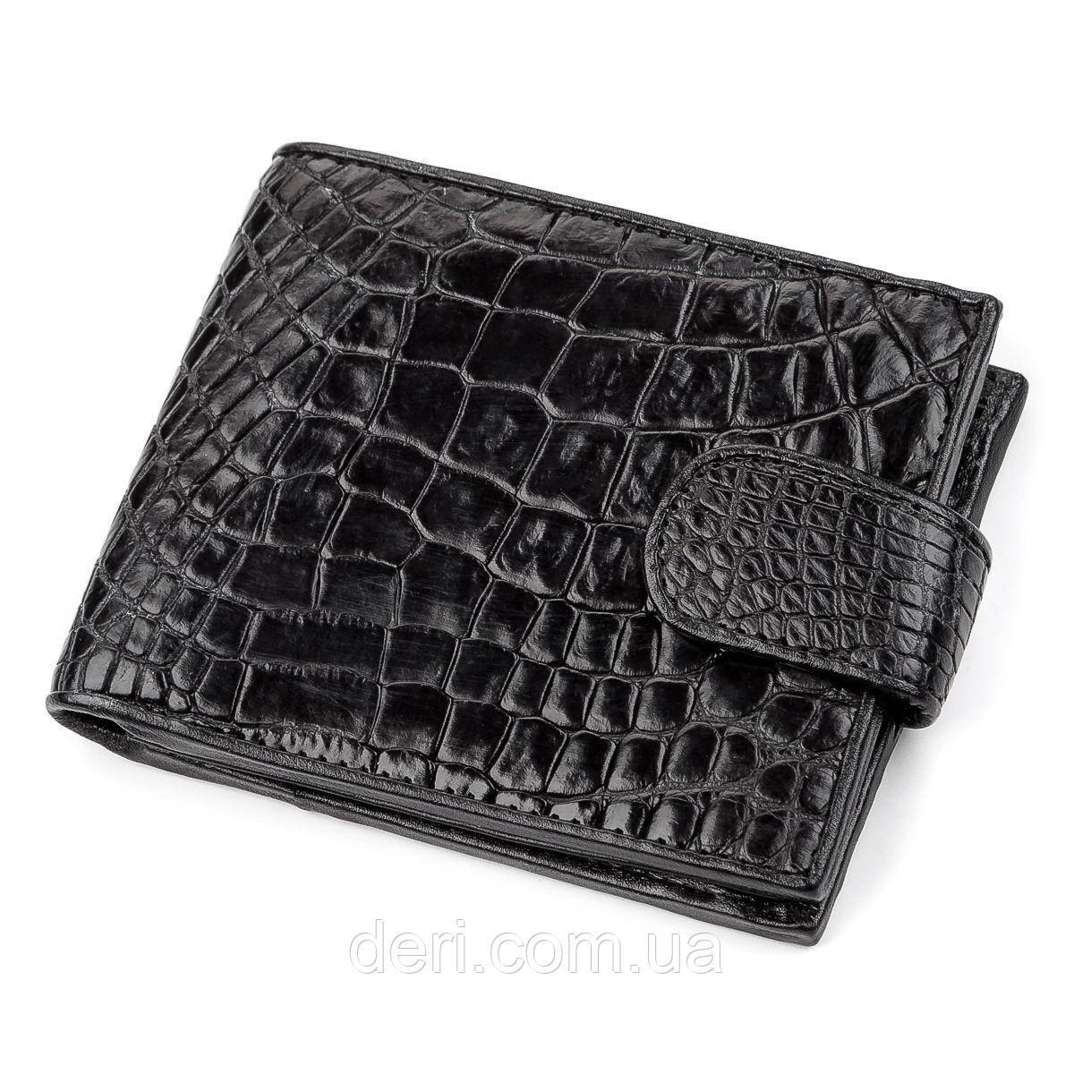 Кошелек из натуральной кожи крокодила, Черный