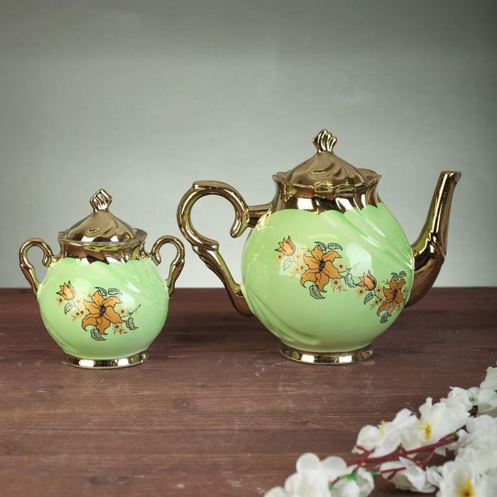 """Чайный сервиз """"Орфей"""", 8 предметов, салатовый,, 0,5 л чайник, 0,5 л сахарница, 0,2 л чашка"""