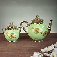 """Чайный сервиз """"Орфей"""", 8 предметов, салатовый,, 0,5 л чайник, 0,5 л сахарница, 0,2 л чашка, фото 1"""