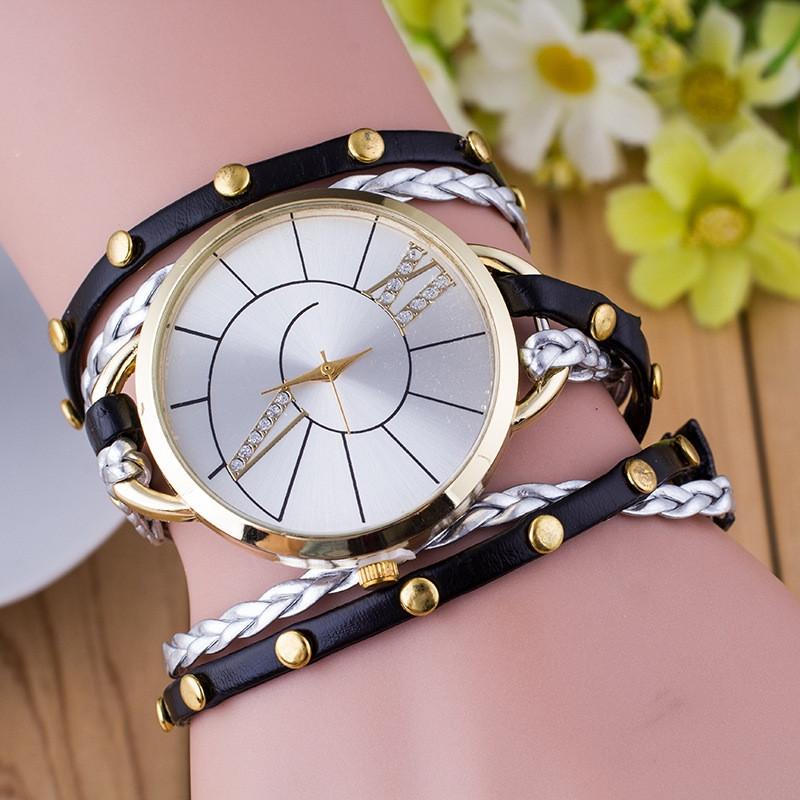 Часы-браслет длинные Черные 143-2
