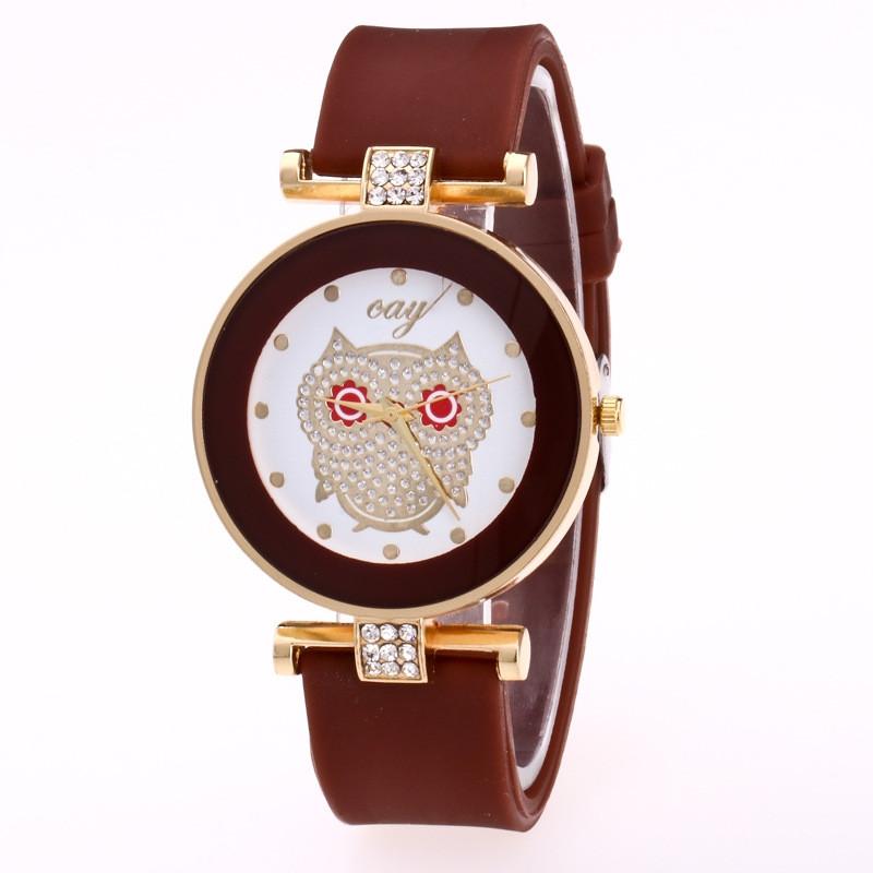 Жіночі годинники Сова з силіконовим ремінцем Шоколад