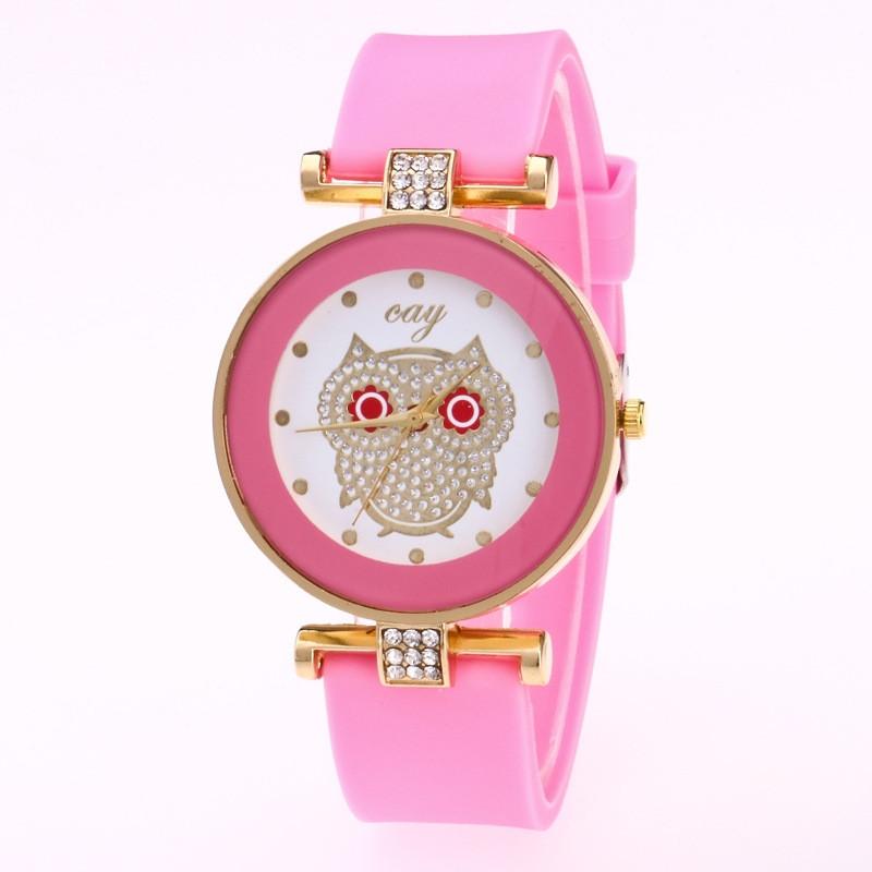 Женские часы Сова с силиконовым ремешком Розовые